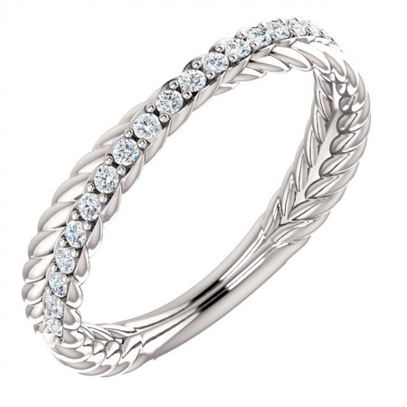 14K WHITE GOLD DIAMOND AND CABLE BAND