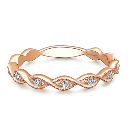 14K ROSE GOLD  DIAMOND STACKABLE BAND