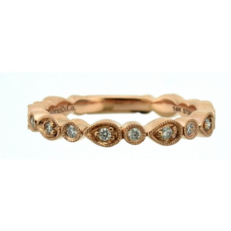 Gabriel and Co 14K Rose Gold Diamond Stackable Band