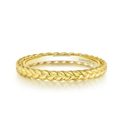 14K YELLOW GOLD BRAIDED ETERNITY BAND