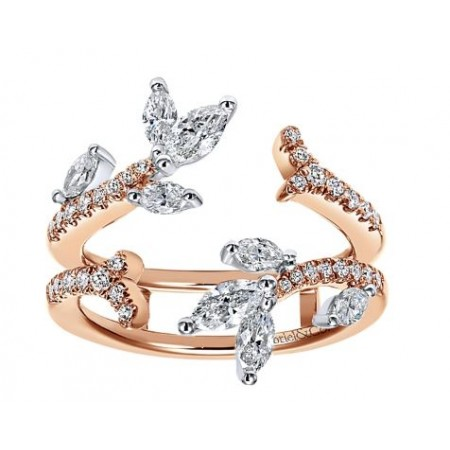 Gabriel & Co. 14k 14k White and Rose Gold Diamond Ring Guard