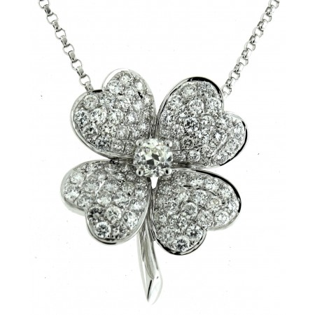 18K WHITE GOLD DIAMOND FLOWER PENDANT