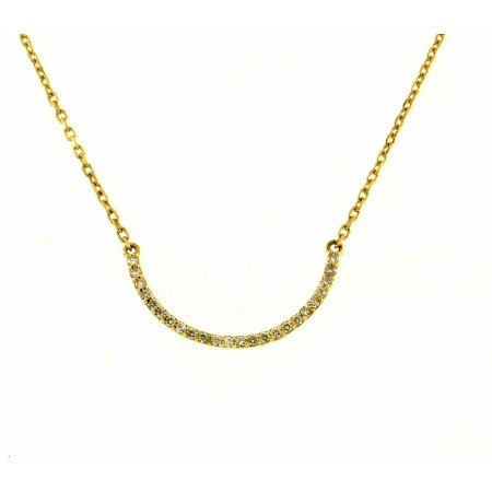 14K YELLOW GOLD DIAMOND CURVED NECKLACE
