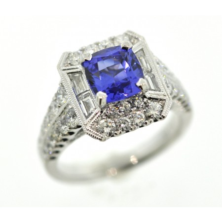 18K White Gold 2.02-Carat Tanzanite & 1.34-Carat Total Weight Diamond Accent Ring