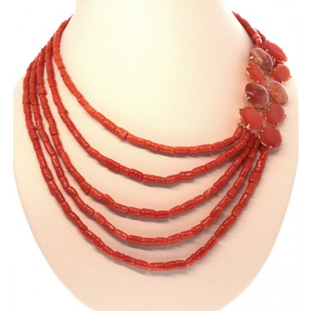 "RAJOLA 18K Yellow Gold Red Sciacca Coral, Carnelian and Sunstone 17"" Collier Necklace"
