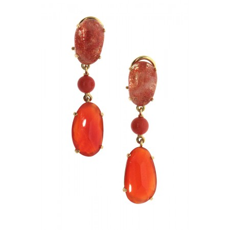 RAJOLA 18K Yellow Gold Faceted Carnelian, Sunstone and Coral Drop Earrings