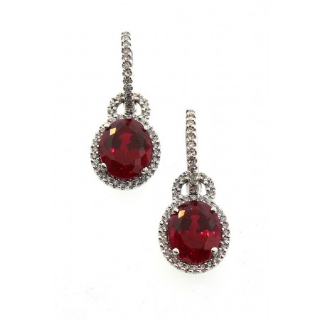 14K CHATHAM CREATED RUBY & DIAMOND EARRINGS