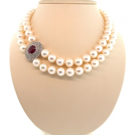 18K RUBY & SOUTH SEA CULTURED PEARL DOUBLE STRAND DIAMOND ACCENT NECKLACE