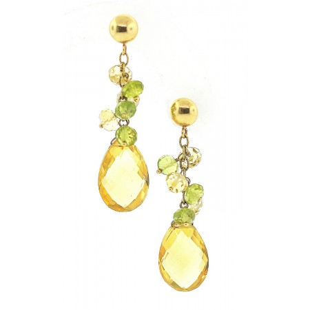 14K Yellow Gold Faceted Citrine and Peridot Dangle Earrings