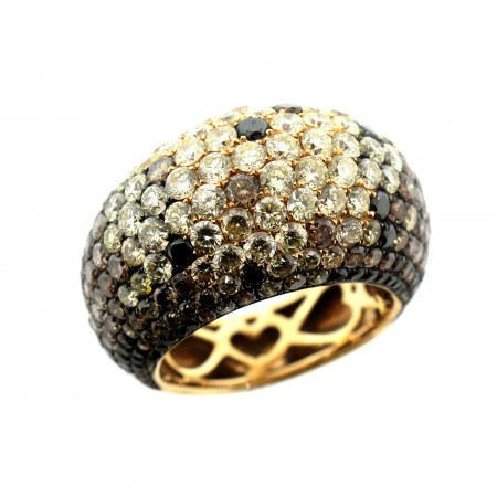 18K YELLOW GOLD CHAMPAGNE, YELLOW, BLACK AND WHITE DIAMOND CONFETTI DOME RING