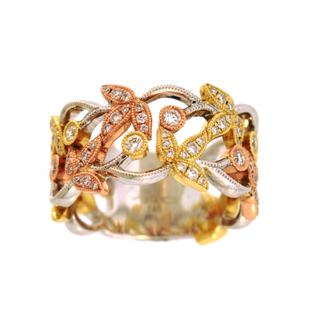 14K WHITE, YELLOW AND ROSE GOLD DIAMOND LEAF FASHION RING