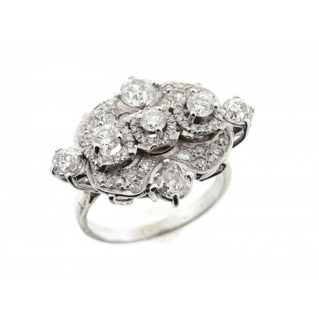 Ladies 14K White Gold Vintage Deco Diamond Ring