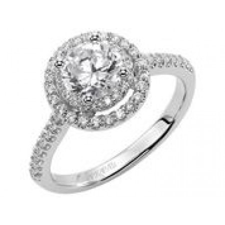 14K White Gold Double Halo Diamond Engagement Semi Mount