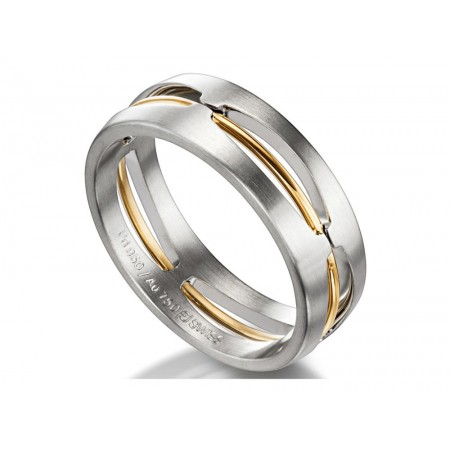 18K WHITE GOLD AND 18K ROSE GOLD COMBINATION GENT'S WEDDING BAND