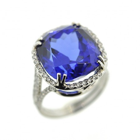 18K White Gold 18.10 Carat Cushion-Cut Tanzanite Diamond Ring