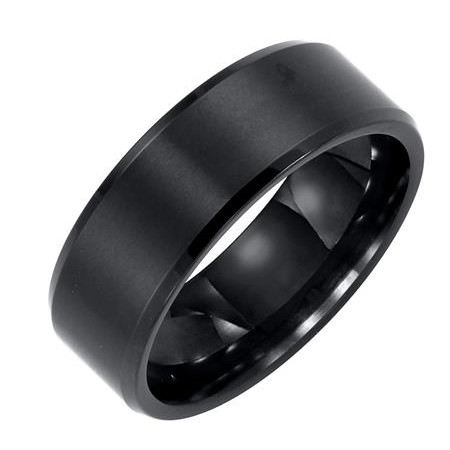 8mm Black Tungsten Carbide Bevel Edge Comfort Fit Band with Satin Finish