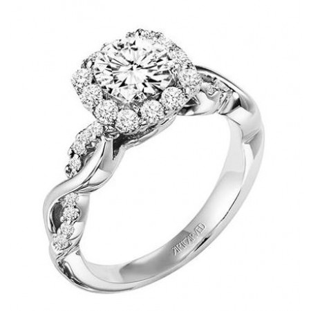 14K White Gold Diamond Engagement Ring Semi Mount with Round Center Halo and Diamond Enhanced Band