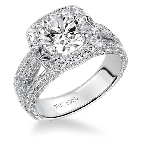 14K White Gold Diamond Halo Engagement Ring Semi Mount with Hand Engraved with Milgrain