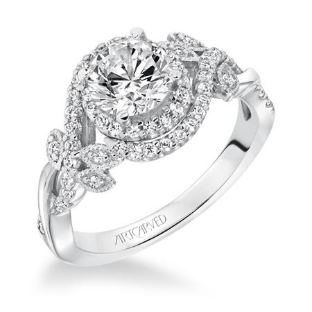 14K White Gold Halo with Leaf Design Diamond Engagement Ring Semi Mount