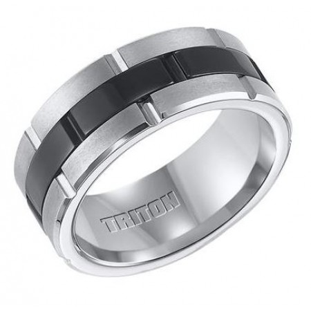 9mm Black and White Tungsten Carbide Comfort Fit Band with Brick Engraving