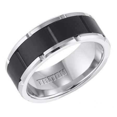 8.5mm Black and White Tungsten Carbide Comfort Fit Band with Brick Engraving