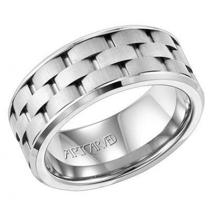 TUNGSTEN BRICK PATTERN WEDDING BAND 9MM