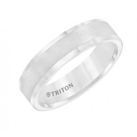 6MM TUNGSTEN COMFORT FIT WEDDING BAND WITH SATIN FINISH IN CENTER AND POLISHED EDGES.