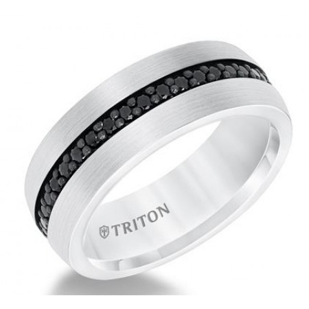 TUNGSTEN COMFORT FIT WEDDING BAND WITH 36 BLACK SAPPHIRES. 8MM WIDE.