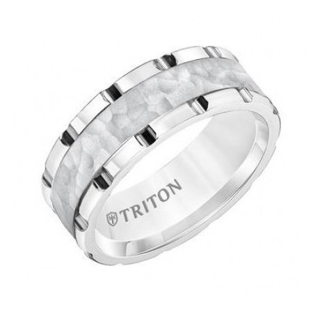 8MM White Tungsten Band with Link Edge, Sand Finish Hammered Center and Polished Rims