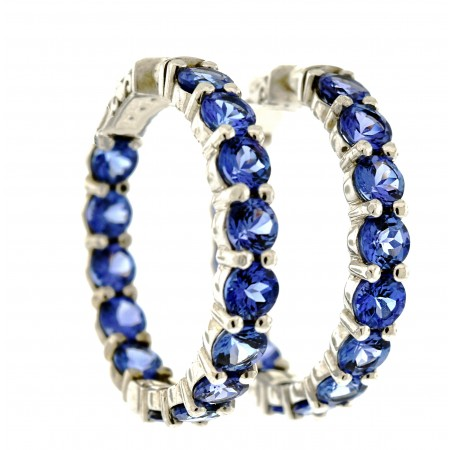 14K WHITE GOLD TANZANITE HOOP EARRINGS