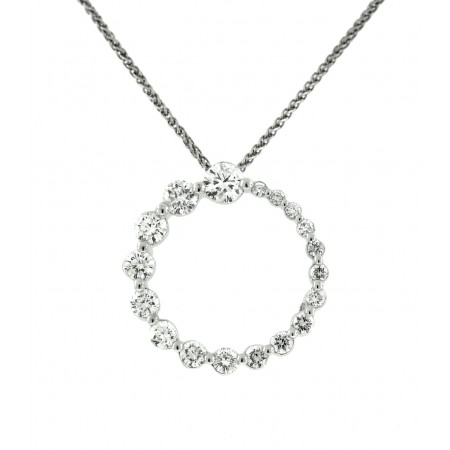 14K WHITE GOLD DIAMOND GRADUATED CIRCLE PENDANT