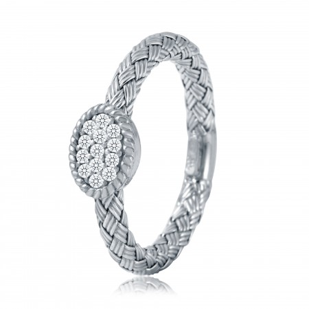 STERLING SILVER DIAMOND OVAL RING