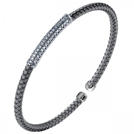 STERLING SILVER CUBIC ZIRCONIA WOVEN OVAL STACKABLE CUFF