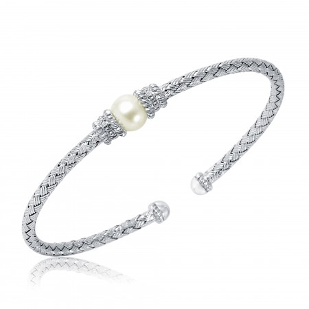 Charles Garnier Pearl and Diamond Cuff in Sterling Silver
