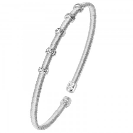 STERLING SILVER 5 ROW CUBIC ZIRCONIA CUFF