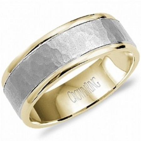 14K WHITE AND YELLOW GOLD WEDDING BAND