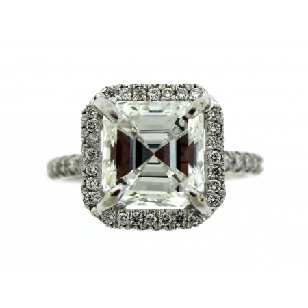 3.42 Carat Asscher Cut Diamond Engagement Ring