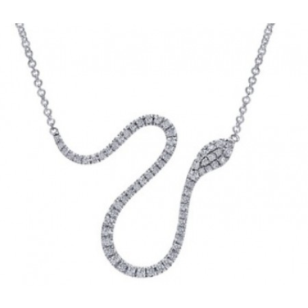 "17"" ADJUSTABLE14K WHITE GOLD DIAMOND SNAKE NECKLACE"