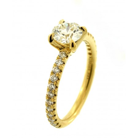 18K YELLOW GOLD DIAMOND RING SET WITH A 0.77CT EIGHTSTAR DIAMOND