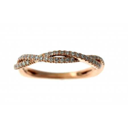 14K ROSE GOLD DIAMOND STACKABLE TWIST ETERNITY BAND