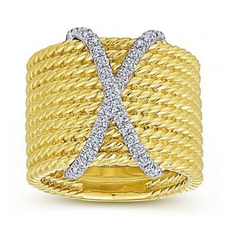 14K YELLOW GOLD 0.26CT DIAMOND X TWISTED ROPE DESIGN RING