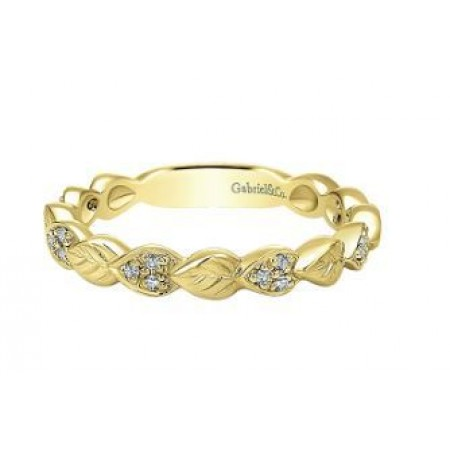 14K YELLOW GOLD DIAMOND LEAF STACKABLE BAND