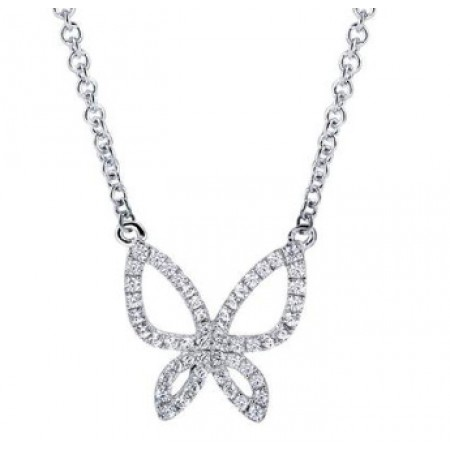 "18"" 14K WHITE GOLD DIAMOND BUTTERFLY NECKLACE"