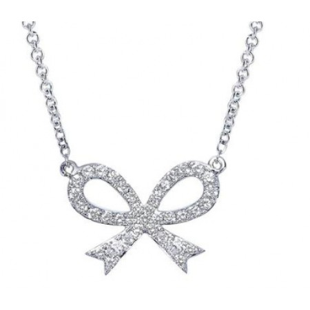 "18"" 14K WHITE GOLD DIAMOND RIBBON NECKLACE"