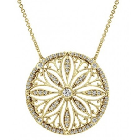 "17"" 14K YELLOW GOLD DIAMOND CIRCLE NECKLACE"