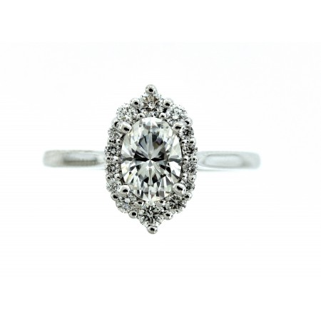14K WHITE GOLD 7 X 5 OVAL FOREVER ONE MOISSANITE ENGAGEMENT RING.