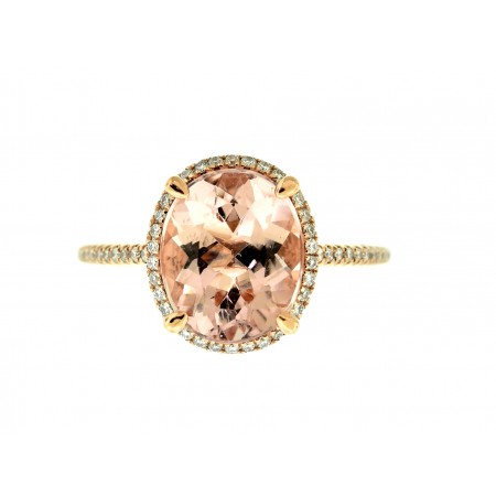 14k ROSE GOLD 3.23CT MORGANITE AND DIAMOND RING