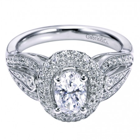 14k White Gold Diamond Double Halo Setting for 1.00 Carat Oval Diamond