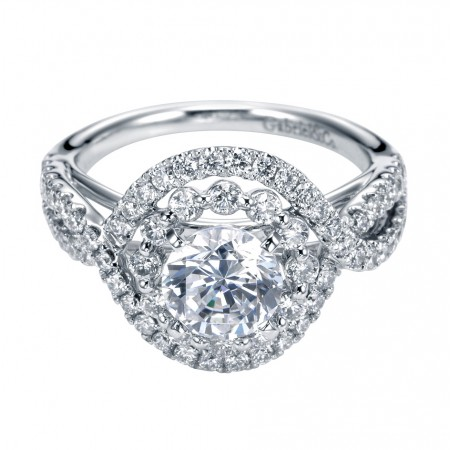 14k White Gold Diamond Double Halo Setting for 1 Carat Round Diamond
