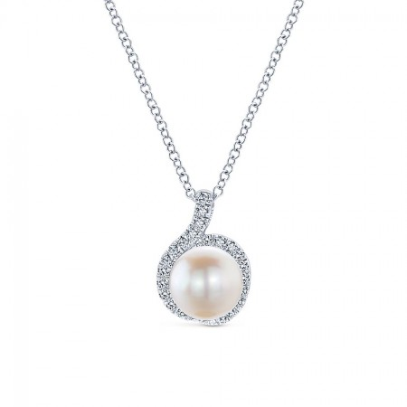 "18"" 14K WHITE GOLD DIAMOND AND PEARL PENDANT"